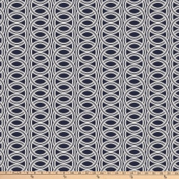 Stoffabric Denmark Avalana Viscose Stretch Jersey Knit Digital Printed Circles Dark Blue