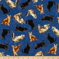 Kaufman Whiskers & Tails Cats Denim Fabric