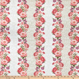 Kaufman Surrey Meadows Vertical Stripe Floral Linen Fabric