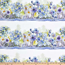 In The Beginning Fabrics The Leah Collection Border Stripe White/Blue