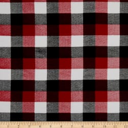 Girl Charlee Cotton Jersey Knit Buffalo Plaid Black Red Cream Fabric