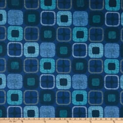 Geo-Square 108'' Wide Back Digital  Squares Navy Fabric