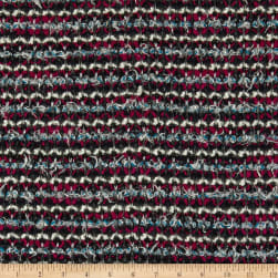 Italian Chanel Designer Wool Boucle Stretch Knit Magenta/Blue/White/Navy Fabric