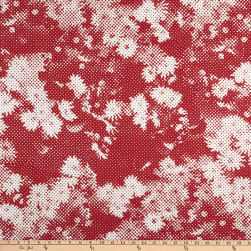 Italian Designer Cotton Broadcloth Pixel Floral Red/White Fabric