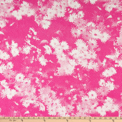 Italian Designer Cotton Broadcloth Pixel Floral Pink/White Fabric
