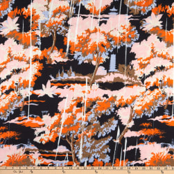 Italian Designer Viscose Satin Toile Navy/Orange