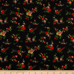 French Designer Viscose Crepe Red/White/Green/Tan/Black Fabric