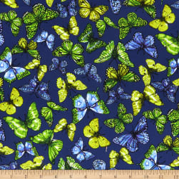 Benartex Rainforest Rainbow Butterfly Blue/Multi