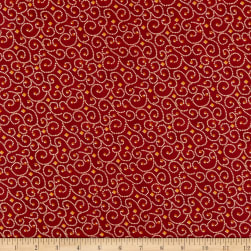 Benartex River's End River's End Dotted Scroll Red Fabric