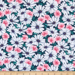 Kaufman Daisy Made Stretch Jersey Knit Packed Floral Teal Fabric