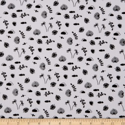 Fabtrends Cotton Poplin Palms And Monstera Leaf White Black Fabric