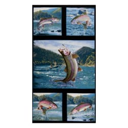 Tight Lines Trout 24'' Panel Black Fabric