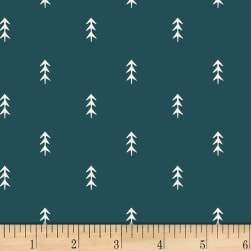 Art Gallery Simple Defoliage Foresta Stretch Jersey Knit Blue/White Fabric