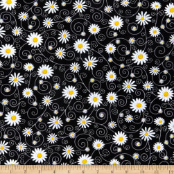 Timeless Treasures What's The Buzz Chalk Daisies Black