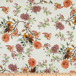 Telio Digital Linen Floral Print White Fabric