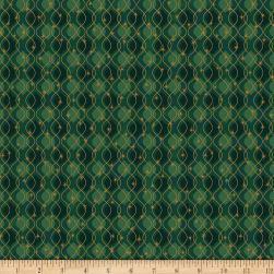 StofDenmark Magic Christmas Wavy Lines And Snowflakes Green