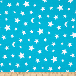 E.Z. Fabric Exclusive Polyester Jersey Knit Dragon Star & Moon Teal
