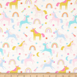 Exclusive Polyester Stretch Jersey Knit Chasing Rainbows Cream