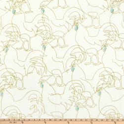 Alexander Henry Rooster Heavy Oxford Avocado Fabric