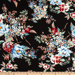 Fabtrends Rayon Soleil Peony Daisy Bouquet Rose/Cloud