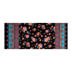 Fabtrends ITY Stretch Knit Paisley Floral Double Border Black/Multi Fabric