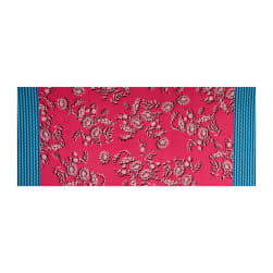 Fabtrends ITY Stretch Knit Floral Ikat Double Border Fuchsia/Turquoise Fabric