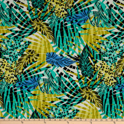 Fabtrends Lily Rib Knit Animal Tropical Leaf Jade/Lime
