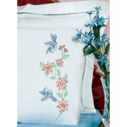 Jack Dempsey Stamped Pillowcases W/White Lace Edge 2/Pkg-Birds