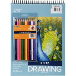"""Artist Select Drawing Pad 9""""X12"""" & 10pc Color"""