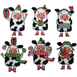 Design Works Plastic Canvas Ornament Kit 3''X4'' Set of 6-Cow (14 Count) Fabric