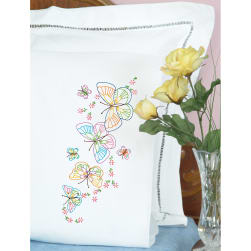 Jack Dempsey Stamped Pillowcases W/White Perle Edge 2/Pkg-Fluttering Butterflies