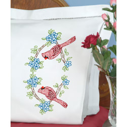 Jack Dempsey Stamped Pillowcases W/White Perle Edge 2/Pkg-Cardinal