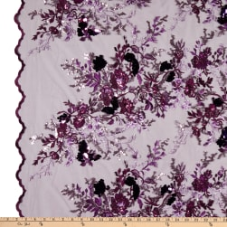 Multi Color Sequins Embroidery Purple Fabric