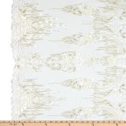 Tulle Multi Beaded Embroidery Ivory Fabric