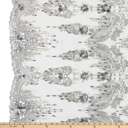Tulle Multi Beaded Embroidery Silver Fabric