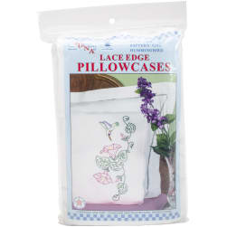 Jack Dempsey Stamped Pillowcases W/White Lace Edge 2/Pkg-Hummingbird