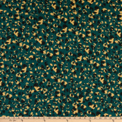 E.Z. Fabric Polyester Spun Stretch Jersey Knit Painted Leopard Animal Print Teal