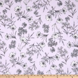 Fabtrends Vintage Stretch Jersey Knit Floral Lilac/Grey/Ivory Fabric