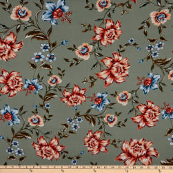 Fabtrends Rayon Soleil Floral Seafoam Peach Denim Fabric