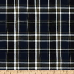 Fabtrends Yarn Dye Rayon Challis Plaid Navy Olive White