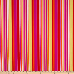 Fabtrends Wool Dobby Chiffon Vertical Stripe White/Orange/Magenta