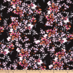 Fabtrends Washer Ghost Texture Crepe Floral Bouquet Black