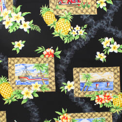 Trans-Pacific Textiles Day in Hawaii Lauhala Frame Black Fabric
