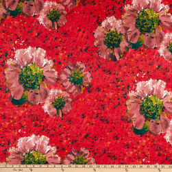 Fabric Merchants Double Brushed Poly Stretch Jersey Knit Floral Dots Coral/Mauve