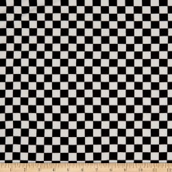 Fabric Merchants Double Brushed Poly Jersey Knit Gingham Black/White