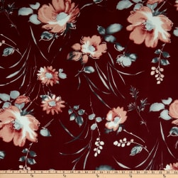 Fabric Merchants Double Brushed Poly Jersey Knit Large Floral Burgundy/Gray