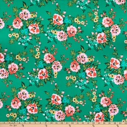 Cloud9 Organic Wildflower Cotton Sweet Rose Green Multi Fabric