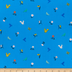 Cloud9 Organic Wildflower Cotton Frolic Blue Multi Fabric