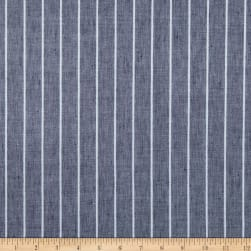 European Linen Marbella Stripe Glimmer Silver White on Indigo Fabric