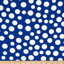 Double Brushed Stretch Knit Prints Dot Blue/White Fabric